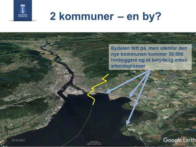 Departement og Storting får noe å bryne seg på når de skal se på hvordan en fremtidsrettet kommune bør være Drammensområdet.